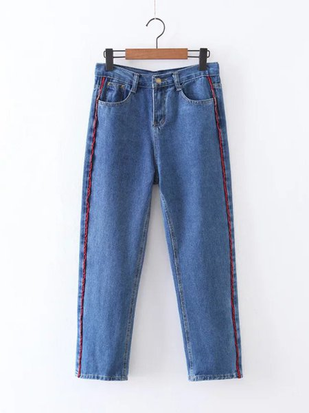 Piping Pockets Denim Wide Leg Jeans