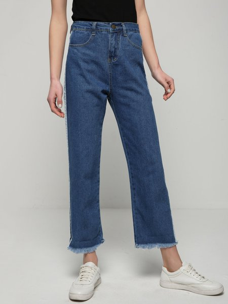 Ripped Piping Pockets Denim Wide Leg Jeans