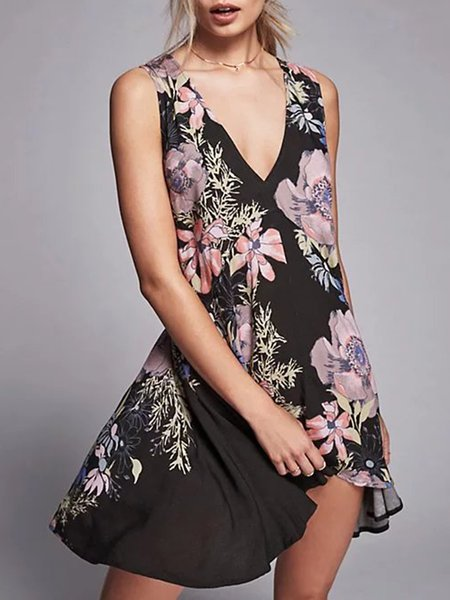 Black Floral-print Sleeveless A-line Chiffon Dress
