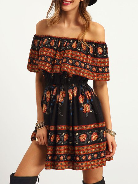 Black Ruffled Printed Off Shoulder Boho Dress