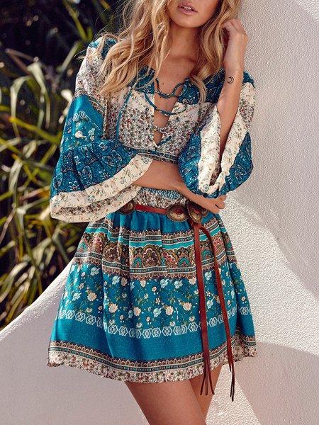 Blue Lace Up Bell Sleeve Boho Printed Dress