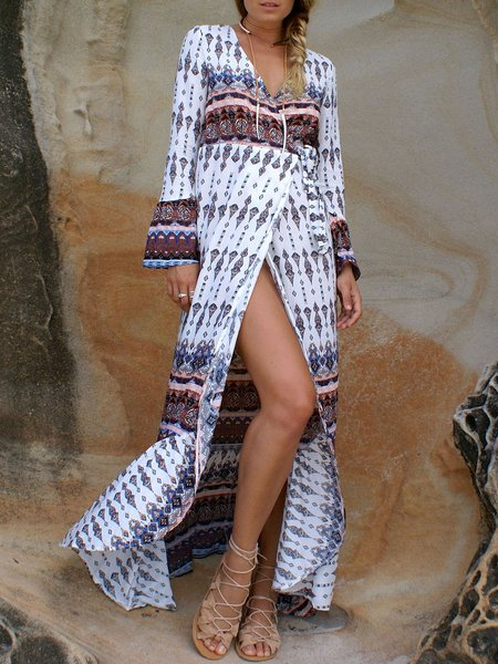 Surplice Neck Printed Long Sleeve Boho Wrap Dress