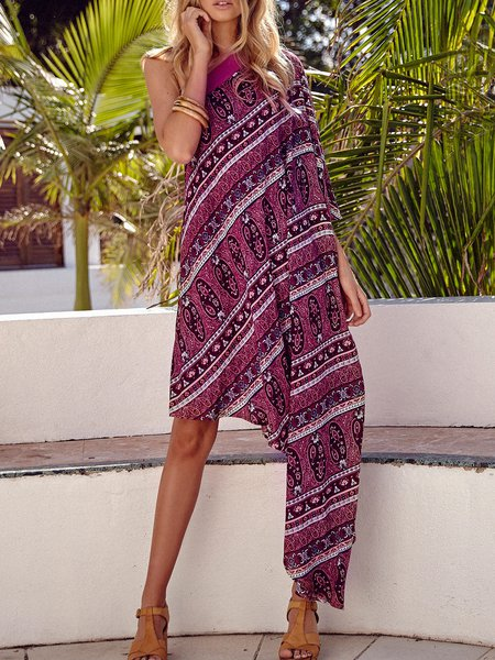Fuchsia One Shoulder Asymmetrical Boho Dress