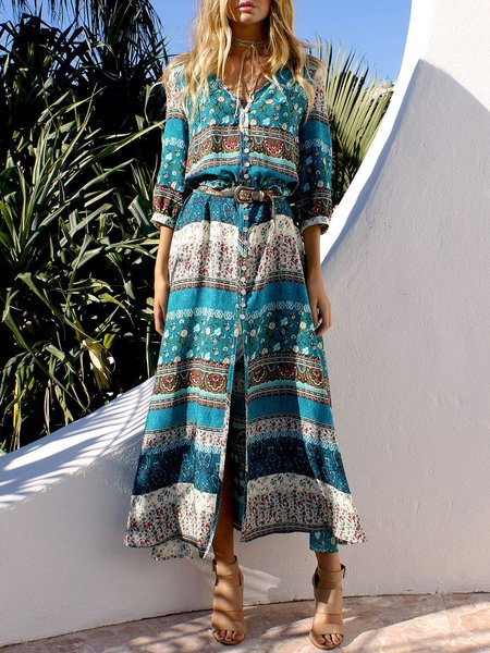 3/4 Sleeve A-line Vintage V Neck Boho Dress