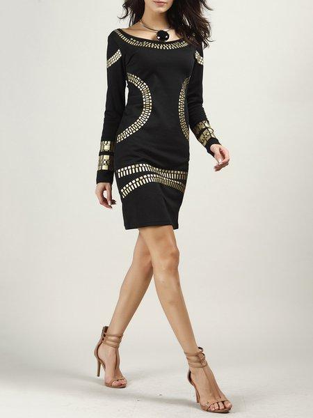 Black Geometric Long Sleeve Sheath Dress - JustFashionNow