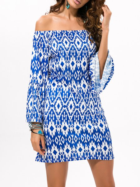 Geometric Printed Long Sleeve Boho Off Shoulder Dress