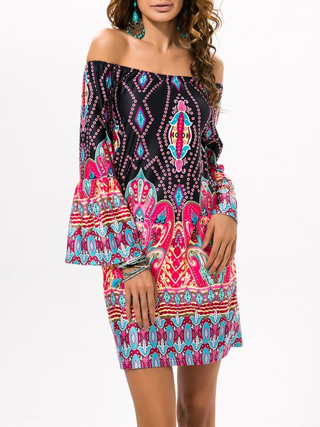 Trible Printed Long Sleeve Boho Off Shoulder Dress