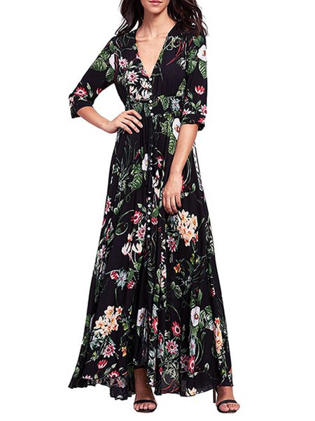 Black Swing Floral-print 3/4 Sleeve Boho Dress