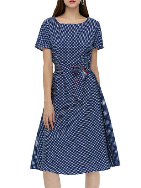 Blue Swing Polka Dots Square Neck Vintage Dress