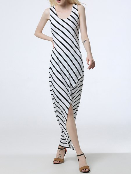 White Stripes Slit Scoop Neckline High Low Dress