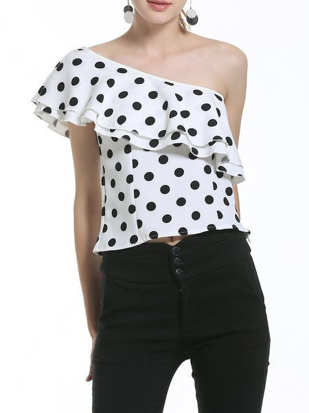 White Ruffled Polka Dots One Shoulder Blouse