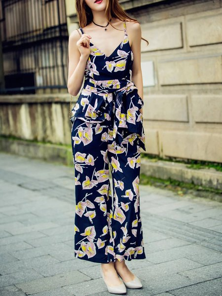 Dark Blue Floral Spaghetti Two Piece Jumpsuit
