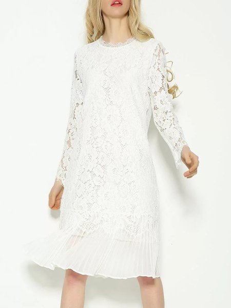 White Long Sleeve A-line Paneled Lace Dress