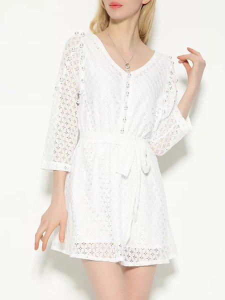 White Lace 3/4 Sleeve Beaded V Neck Dress