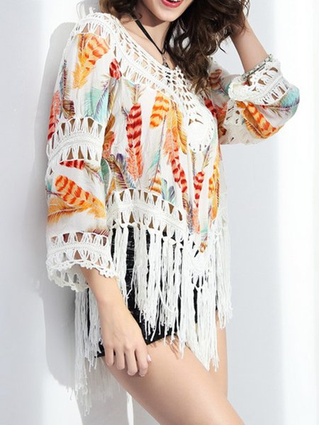 Multicolor Batwing Fringes Printed Cover Up
