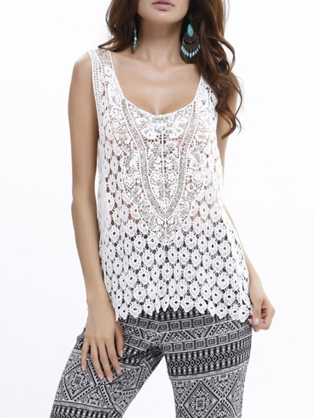 White A-line Crocheted Lace Tank Top