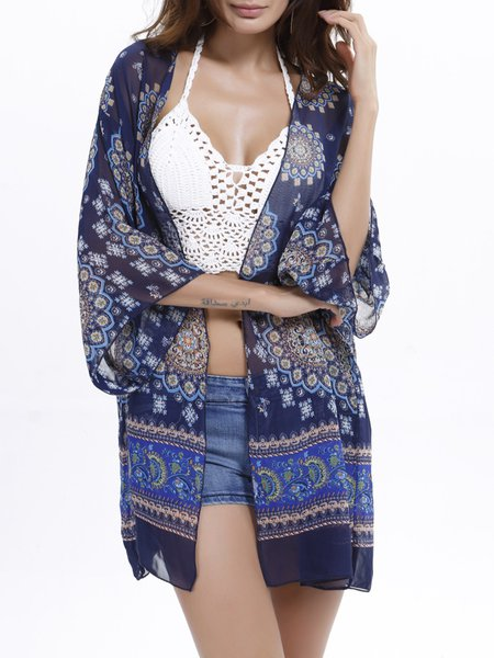 Royal Blue Tribal Shift 3/4 Sleeve Boho Kimono