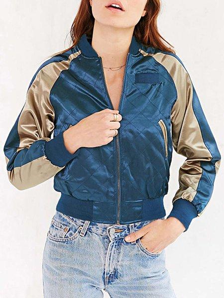 Blue Color-block Pockets Bomber Jacket