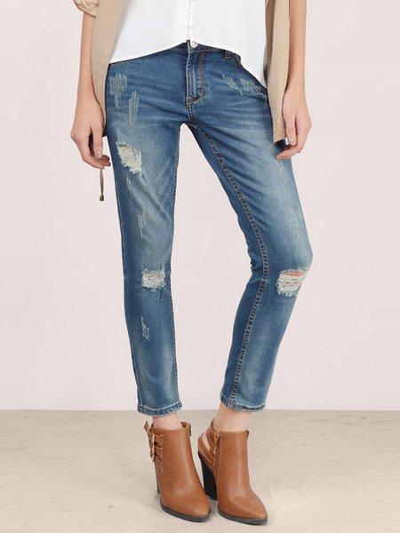 Blue Washed Ripped Casual Denim Jeans