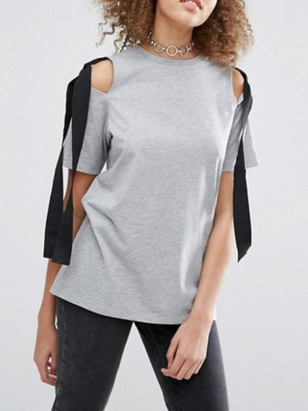 Light Gray Short Sleeve Bow-tied Cold Shoulder T-Shirt