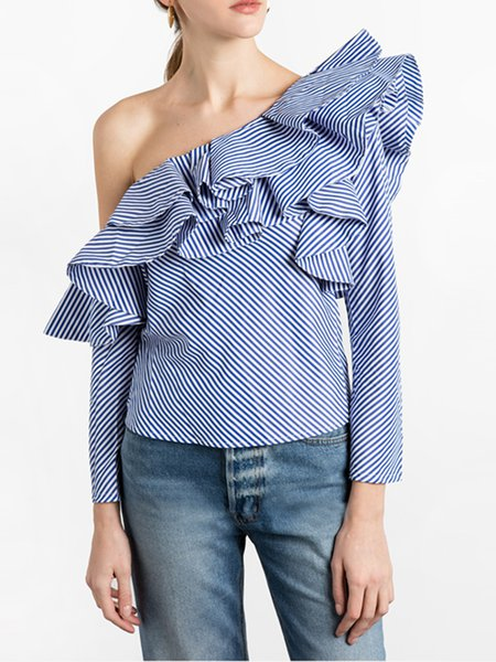 Blue Stripes Long Sleeve Ruffled One Shoulder Blouse