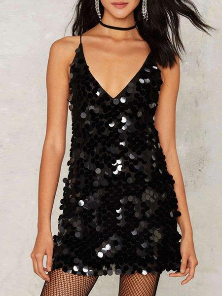 Black Open Back Sexy Spaghetti Glitter-finished Dress