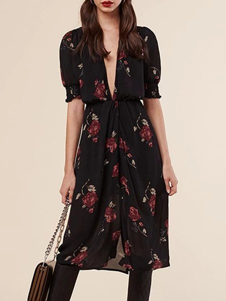 Black Boho Floral Plunging Neck Chiffon Dress