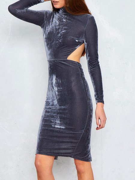 Gray Cutout Slit Sexy Stand Collar Bodycon Dress