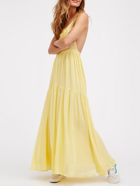 Yellow Flounce Solid Open Back Sexy Maxi Dress