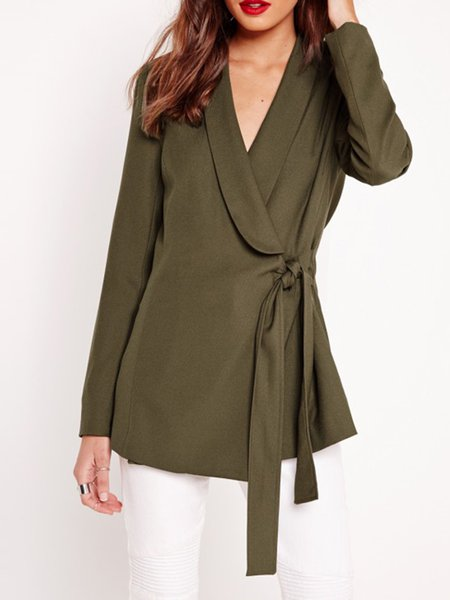 Army Green Shawl Collar Wrap Front Coat