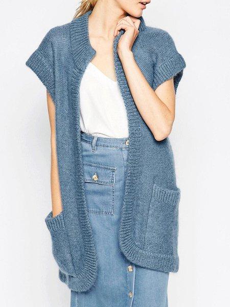 Blue Pockets Short Sleeve Simple Cardigan