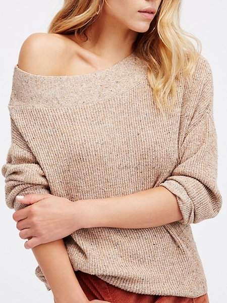Beige Solid Knitted Casual Boat Neck Sweater