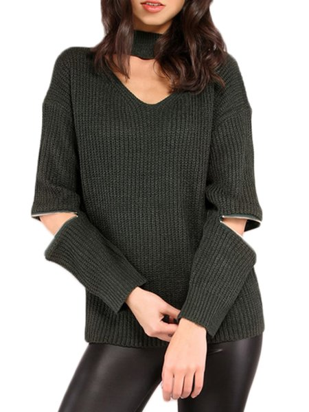 Dark Green Slit Sleeve Choker Neck Solid Sweater