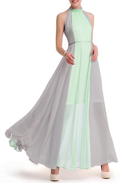Light Green Girly Color-block Chiffon Halter Dress