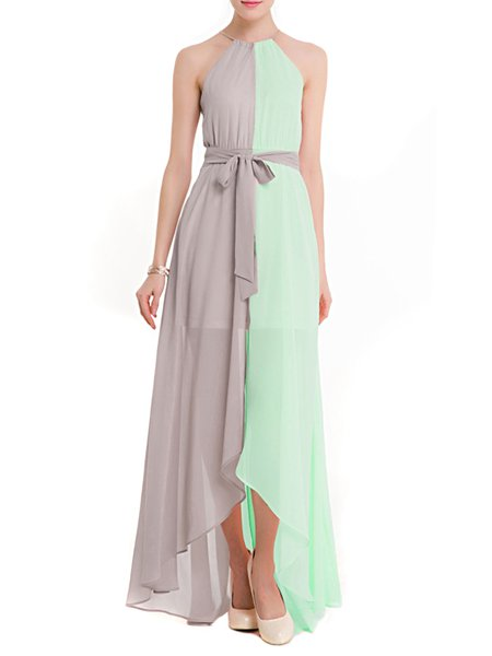 Light Green Color-block Halter High Low Dress with Belt