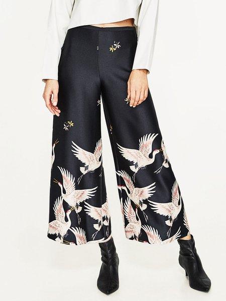 Dark Blue Animal Print Flared Pants
