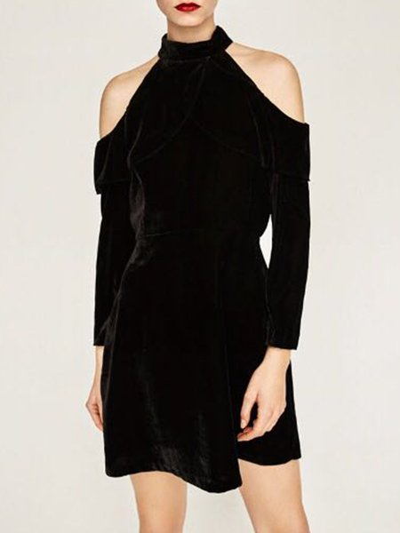 Black Cold Shoulder Velvet Solid Ruffled Dress