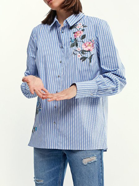 Blue Stripes Long Sleeve Embroidered Shirt