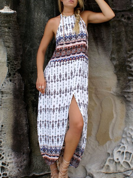 Tribal A-line Sleeveless Racerback Slit Boho Dress