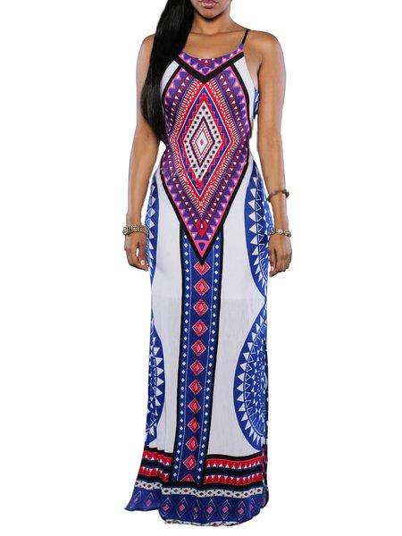 White Tribal Spaghetti Slit Sheath Maxi Dress