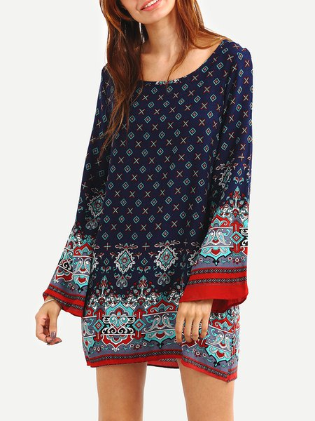 Royal Blue Tribal Boat Neck Bell Sleeve Boho Dress