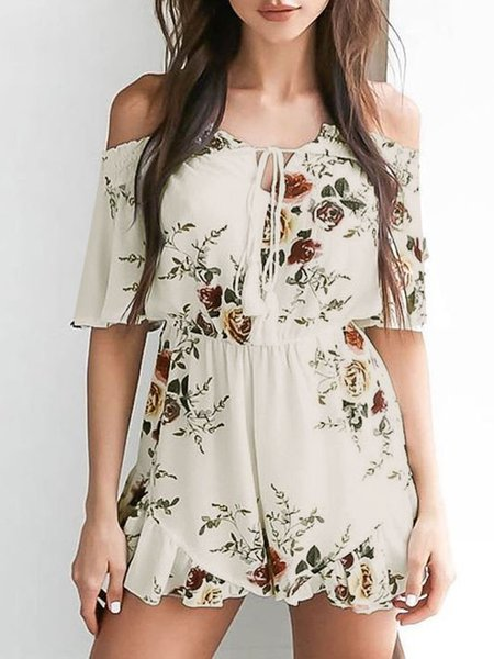 White Floral-print Boho Off Shoulder Romper