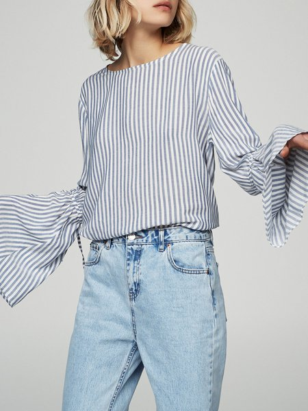 Blue Stripes Crew Neck Bell Sleeve Blouse