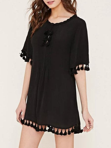 Tassel Solid Half Sleeve A-line Tunic Top