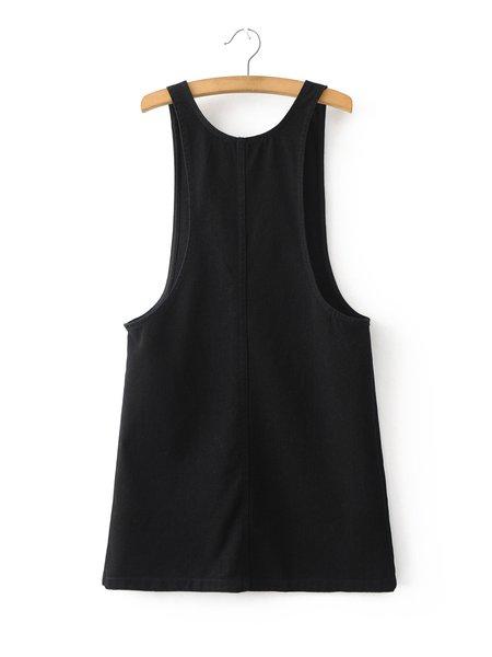 Black Sleeveless Pockets Denim Overall Dress - Black Sleeveless Pockets Denim Overall Dress - JustFashionNow.com