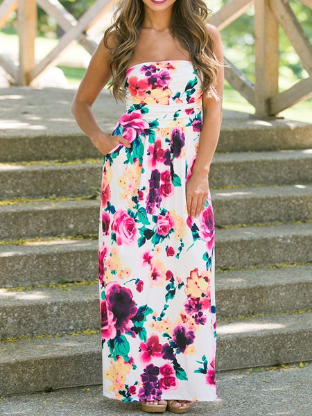 Glamorous Pink Floral-print Strapless Maxi Dress