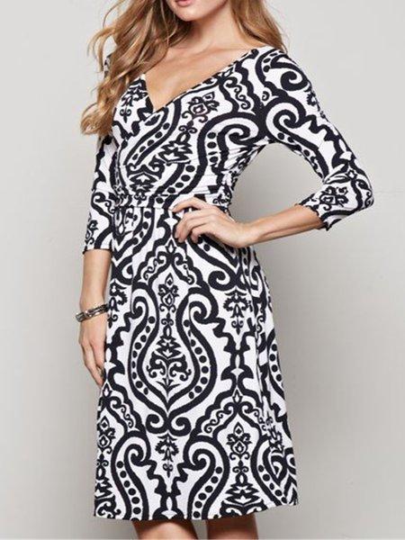 Black Printed 3/4 Sleeve V Neck Dress