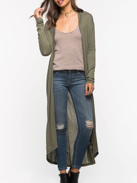 Army Green Solid Hoodie High Low Outerwear