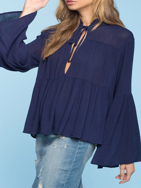 Navy Blue Ruffled Solid Bell Sleeve Blouse
