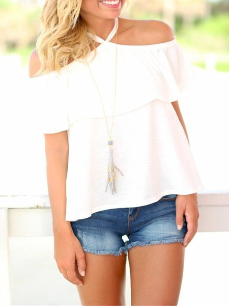White Ruffled Ramie Halter Off Shoulder Top